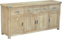 """Montego"" Hamptons Style Solid Hardwood Buffet Sideboard with Metal Corners, 180x50xH90cm"