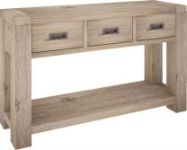"""Fraser"" 3 Drawer Console Table Acacia Timber with Ash Finish"