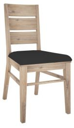 """Fraser"" Acacia Timber Dining Chair with Ash Finish and PU seat"