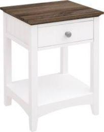 """Havana"" Timber White Bedside Table 1 Drawer"