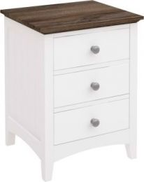 """""""Havana"""" Timber White Bedside Table 3 Drawers"""