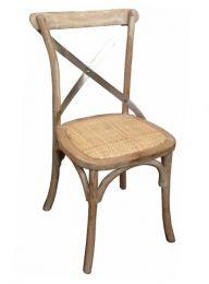 """Noosaville"" Oak Hardwood Timber Cross back Chair Whitewash Stainless Steel Back"