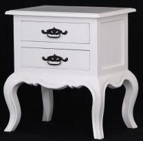 """""""Provence"""" 2 Drawer French Provincial Timber Lamp Table White"""