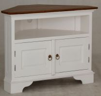 """Normandy"" White with Caramel Top French Provincial Corner Timber 90cm TV Unit with 2 Doors"
