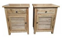 """Palm Beach"" Timber Side Lamp Bedside Table Drawer Oak - Set of 2 (LHS & RHS)"