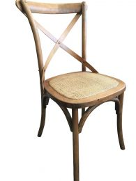 """Noosa"" Oak Hardwood Timber Cross Back Chair Rattan Seat Antique Natural"