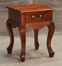 """Maison"" Mahogany 45x45cm French Provincial Style Hardwood Timber Lamp Table with 1 Drawer"