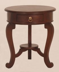 """Maison"" Mahogany 55cm Round French Provincial Style Hardwood Timber Lamp Table with 1 Drawer"