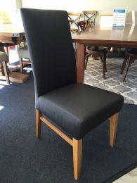 """""""Matthew"""" 100% Genuine Cow Hide Leather Dining Chair Tasmanian Oak Legs Black"""