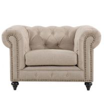 """Royale"" Beige Chesterfield Tufted Natural Linen Studded Occasional Armchair, W120xD91xH80cm"
