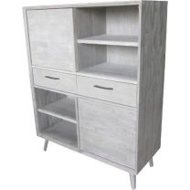 """Coastal"" 2 Drawer 4 Niche Bookcase Display Unit Brushed Light Grey FLOOR STOCK SALE"