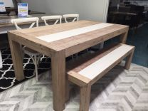 """Beachside"" Solid Timber 210cm Dining Table with Bench + 3 x Cross Back Chair Package"
