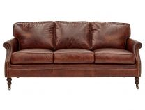 """""""Winston"""" 3 Seater Genuine Leather with Brass Stud Lounge"""