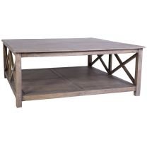 "FLOOR STOCK CLEARANCE SALE ""Bordeaux"" 115x115cm Square Mango Wood Timber Hampton Coffee Table with Cross Side Design"