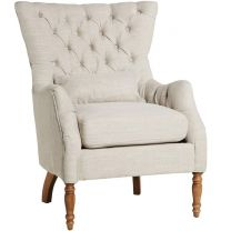 """Estate"" Buttonback Occasional Armchair in Natural Linen"