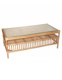 """Alfresco"" Rattan Coffee Table with Tempered Glass Natural"