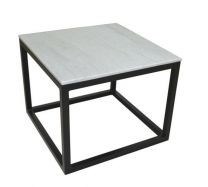 """Beacon"" Lamp Table with Marble Top and Iron Black Legs"