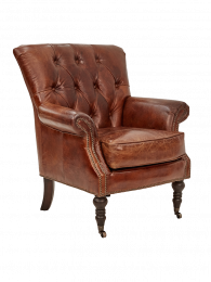"""Camden"" Chesterfield Armchair Genuine Aged Leather Brass Studs"