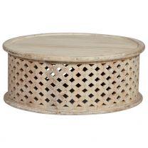 """Penelope"" 80cm Round Solid Mango Wood Timber Hampton Style Coffee Table"