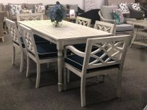 Hampton Hardwood Timber Hamptons Style 7 Piece Outdoor Dining Setting Whitewash with Navy Blue Cushions