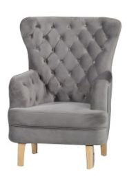 """Elsa"" Grey Velvet Occasional Accent Armchair with Blonder Timber Legs"