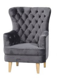"""Elsa"" Slate Velvet Occasional Accent Armchair with Blonder Timber Legs"