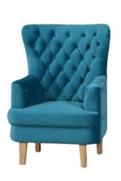"""Elsa"" Turquoise Velvet Occasional Armchair with Blonder Timber Legs"