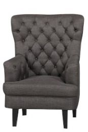 """Lois"" Gunmetal with Dark Timber Legs Occasional Armchair Key West Fabric"