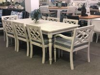 Hampton Hardwood Timber Hamptons Style 9 Piece Outdoor Dining Setting Whitewash with Grey Cushions