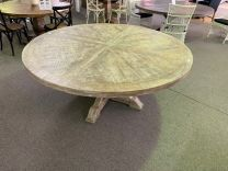 """Atticus"" Solid Timber Parquetry 180cm Round Dining Table with Pedestal Base in White Wash"