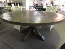 """Atticus"" Solid Timber Parquetry 180cm Round Dining Table in Dark Grey"