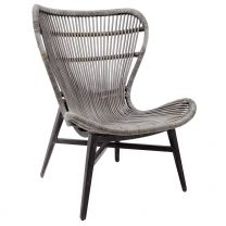 """Mona Lisa"" Hampton Style Rattan Cane Occasional Chair Grey Wash"