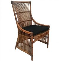 """Byron"" Hampton Style Rattan Cane Dining Side Chair Black Cushion"