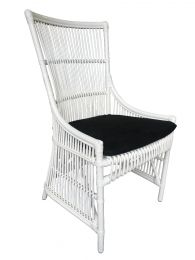 """Byron"" White Hampton Style Rattan Cane Dining Side Chair with Black Cushion"