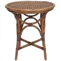 """Byronr"" Round 50cm Rattan Side Table in Natural"