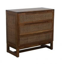 """Barbados"" British Colonial Style 3 Drawer Timber Tallboy Wood/Rustic finish 90 x 40 x 85cm"