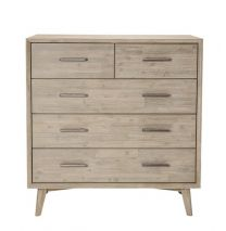 """Belrose"" Coastal Style Grey Wash Solid Timber 5 Drawer Tallboy"