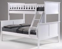 """Jake"" Hamptons Style White Timber Single Over Double Bunk Bed"