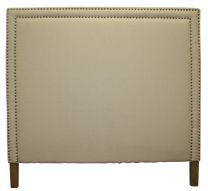 """Abbot"" Hamptons Style Natural Linen Fabric Studded Bedhead King Size"