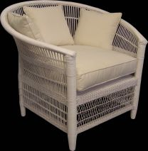 "FLOORSTOCK CLEARANCE SALE ""Brighton"" White Hampton Style Rattan Extra Large Cane 100cm Round Occasional Chairs"