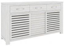 """Plantation"" Hampton Style Hardwood Timber Buffet 3 Drws 160x42x85cm Whitewash"