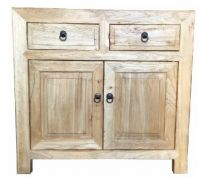 Shanghai Chinese Antique Reproduction Recycled Elm 2 Drawer 2 Door Cabinet Hall Table
