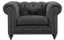"""Royale"" Gunmetal Grey Keywest Chesterfield Tufted & Studded Occasional Armchair, W120xD91xH80cm"