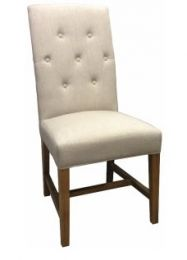 Tiffany French Provincial Linen Buttoned Dining Chair Cream
