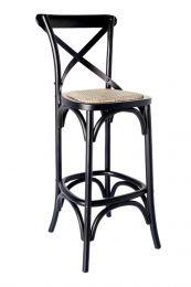 """Noosa"" Oak Hardwood Timber Crossback Bar Stool Rattan 76cm SEAT HEIGHT Black"