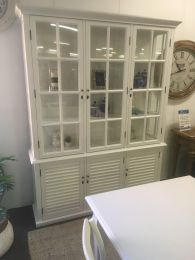 """Whitehaven"" Hardwood Timber Glass Display 3 Shutter Doors, 170x41x220cm White"
