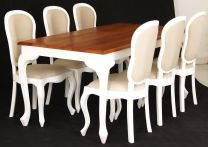 """Maison"" White French Provincial Style 180x90 Solid Hardwood Timber Mahogany Dining Table"