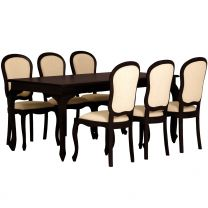 """Maison"" Chocolate 9 Piece French Provincial Style 180x90 Solid Hardwood Timber Mahogany Dining Table with 6 chairs"