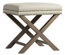 """Ella"" Hampton Style Studded Foot Stool Ottoman in Natural with Natural Legs"