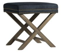 """Ella"" Rectangle Studded Foot Stool in Navy with Natural Wooden Legs"